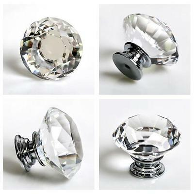 Clear Crystal Diamond Glass Door Knobs Cupboard Drawer Cabinet Handles DP