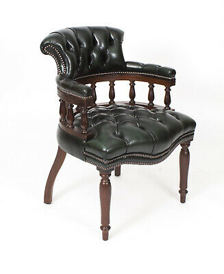 Bespoke English Hand Made Leather Captains Desk Chair Alga Colour
