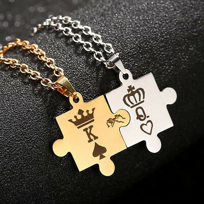 Stainless Steel His Queen and Her King Promise Matching Love Couple Necklace DP