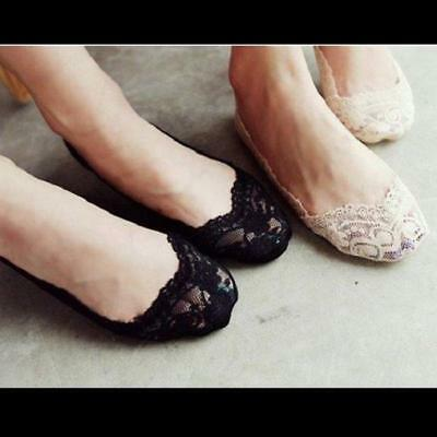 Women Low Cut Socks Cotton Lace Silicone Antiskid Invisible Liner No Show Pads