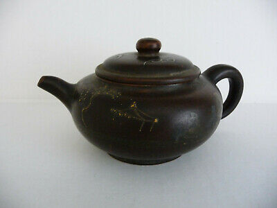 Antique 19th century Yixing teapot; Chinese pottery; hand painted; stamped