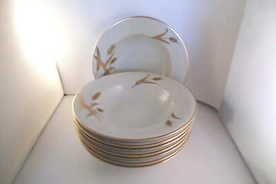 Meito Norleans China Midas Gold Wheat Japan Set of 8 Rim Rimmed Soup Bowls