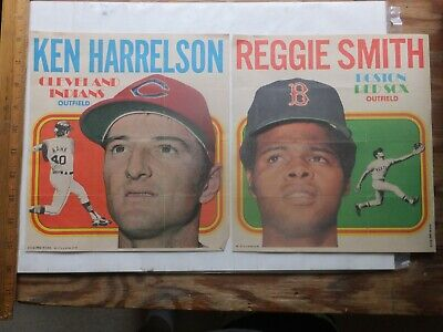 Two 1970 Topps Baseball Posters. Reggie Smith and Ken Harrelson.