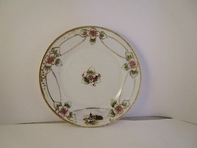 Vintage Nippon Japan Bread Plate Pink Gold Flowers Capitol at Washington DC