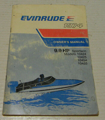 1974 EVINRUDE 9.9 SPORTWIN OUTBOARD OWNERS MANUAL PART No. 207158