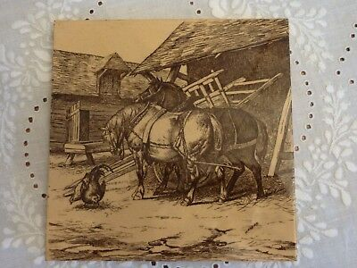 Antique Minton W Wise Tile - 2 Horses - Farm Animals Series -Signed & Dated 1879