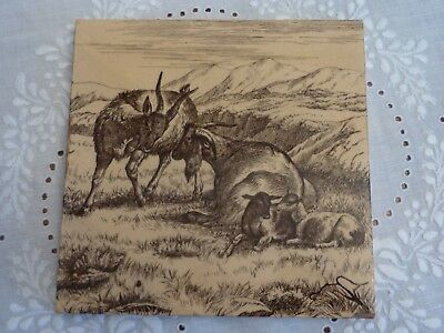 Antique Minton W Wise Tile - Goat Family - Farm Animals Series