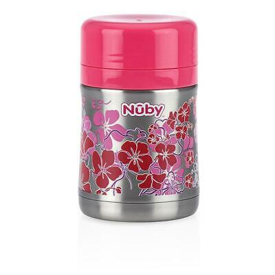Nuby Stainless Steel Food Jar with Spoon - Pink