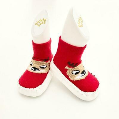 Holiday Reindeer Socks with Foam Sole - 0-6 Months
