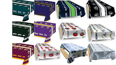 """NFL- Plastic Table Covers (2) Pack- Choose Your Favorite Football Team! 102X54"""""""