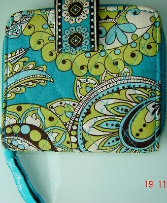 "VERA BRADLEY Aqua Lime Brown ""Peacock"" Quilted Fabric Bifold Mini Wallet"