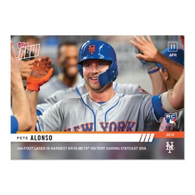 2019 TOPPS NOW # 74 PETE ALONSO RC Rookie Hardest HR in New York Mets History