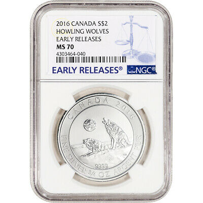 2016 Canada Silver 3/4 oz Howling Wolves $2 - NGC MS70 - Early Releases