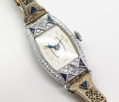 Vintage 1920s Art Deco 14K White Gold Filigree Diamond Sapphire Wristwatch