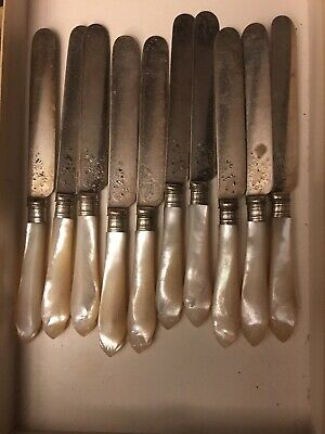 Antique Silver Plated Knives Mother Of Pearl handles X 10 Approx 20cm Long