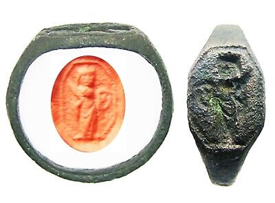 14th - 15th century Medieval bronze signet ring Saint Catherine of Alexandria