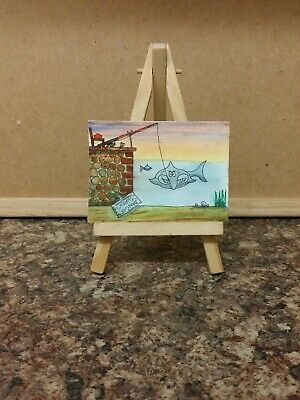 "Original Watercolour Painting Aceo "" Danger! Sharks."""