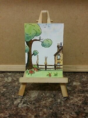 Original Watercolour Painting Aceo by Colin Coles. Rabbits, Bird, Countryside.