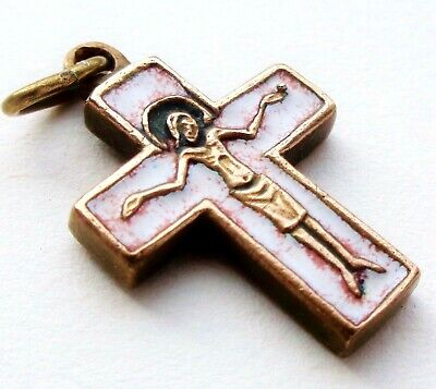 Very Beautiful Ancient Crucifix Cross Pendant Set With White Enamel