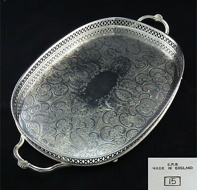 Oval Silver Plated Epb Chased Pierced Gallery Butlers Serving Tray Twin Handles