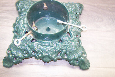 VTG Cast Iron Christmas Tree Stand Green  Ornate, Heavy Duty for Large Tree