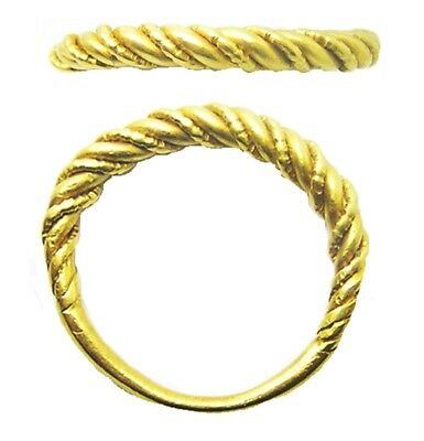 Nice 11th - 12th century AD Scandinavian Viking Twisted Gold Finger Ring Size 8