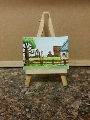 "Original Watercolour Painting ACEO ""At The Farm"" by Colin Coles"