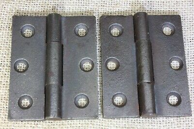 "2 Door BUTT HINGES 2 X 2 1/2"" old store stock vintage 1850's cast iron 3 knuckle"