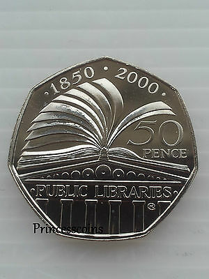 2000*Unc*Public Libraries Fifty Pence 50P Coin