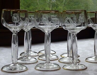 Moser antique crystal wine glasses intaglio tulip, set of 10 stemware