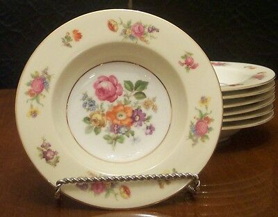 Rose China, Rimmed Soup Bowls, set of 6, Occupied Japan