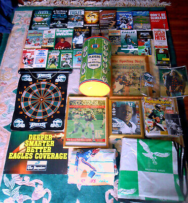 100+ Philadelphia Eagles wBooks Mags Tapes Food Boxes Dolls Mugs Trays HOFers NR