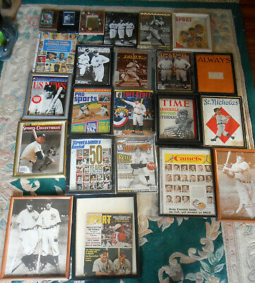 31 New York Yankees Framed Magazines Plaques Ads wRuth Gehrig Mantle DiMaggio NR