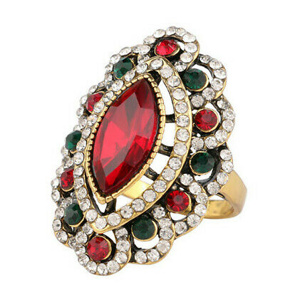 Women Plated Ancient Gold Mosaic red&green Crystal Big Oval Vintage Ring Size 10