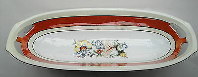 Vintage Floral  Porcelain Open Handle Germany Celery Dish