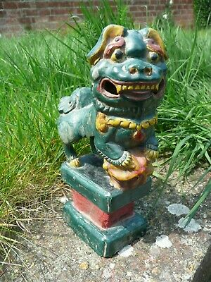 Antique Chinese Foo Dog Shushi Temple Guardian. Single One Only