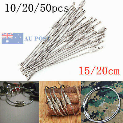 10/20/50pcs Wire Keychain Cable Key Ring Outdoor Hiking Survival Stainless Steel