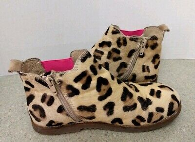5c5a6e556fc8 Mini Boden Leopard Cheetah Animal Print Ankle Boots Girls Size 36 4  Horsehair