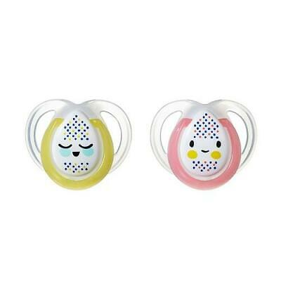 Tommee Tippee 2-Pack 0-6 Months Night Time Pacifier - Pink/Yellow