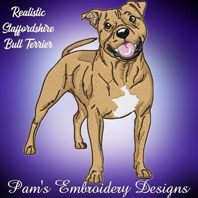 REALISTIC STAFFORDSHIRE BULL TERRIER 10 MACHINE EMBROIDERY DESIGNS CD or USB
