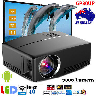 4K WiFi Android LCD Projector HD 1080P Multimedia Home Cinema Theater