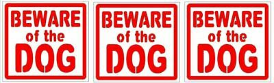 Beware of the dog vinyl decals/stickers (pack of 3)