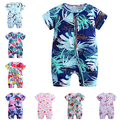 Baby Boy Girl Romper Jumpsuit  Short Sleeve Bodysuit Outfits Clothes 3 9 12 24 M