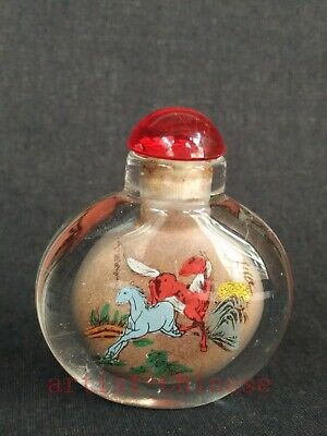 Collection Chinese Old Glass Inside Painitng Horse Snuff Bottle Wonderful Gift