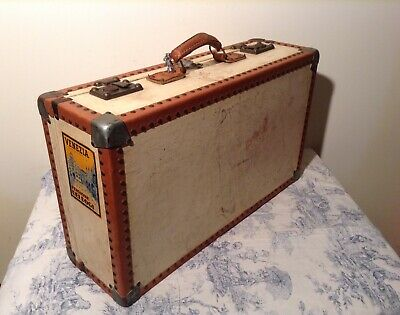 Vintage Hard Shell Suitcase with Keys - Storage Case - Upcycle Table (2886)