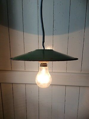 Vintage French Green Enamel Coolie Shade Light (290)