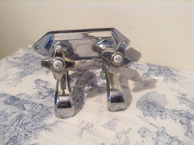 Vintage French Reclaimed Art Deco Style Bath Taps (3247)