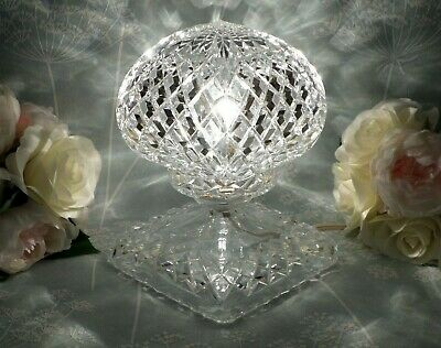 Vintage Art Deco Cut Diamond Crystal Glass Electric Table Lamp Working