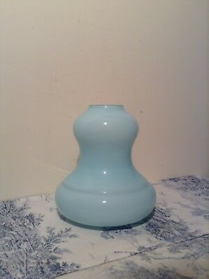 Vintage French Blue Bell Shaped Ceiling Light Lamp Shade (2525)