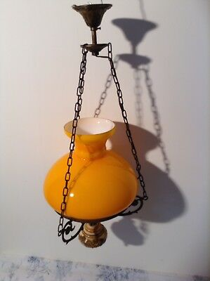 Vintage French Ceiling Light - Orange Opaque Glass Light Lamp Shade (3029)